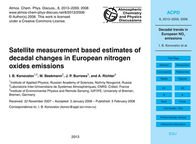 Satellite Measurement Based Estimates of... by Konovalov, I. B.