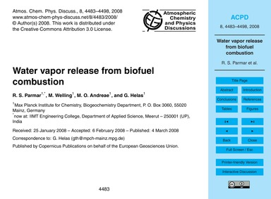 Water Vapor Release from Biofuel Combust... by Parmar, R. S.