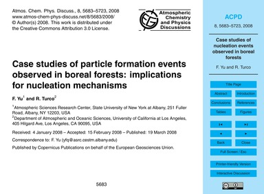 Case Studies of Particle Formation Event... by Yu, F.