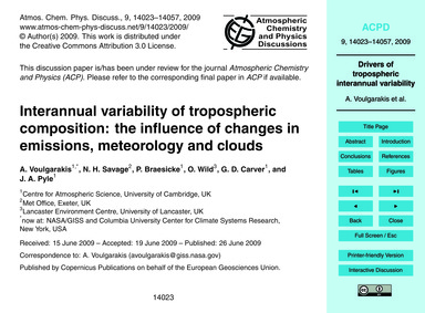Interannual Variability of Tropospheric ... by Voulgarakis, A.