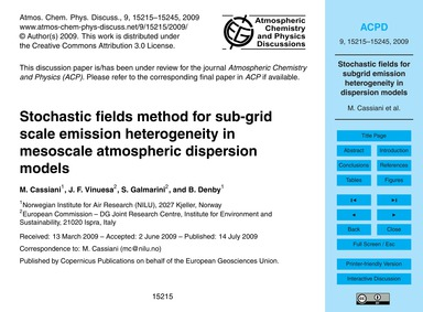 Stochastic Fields Method for Sub-grid Sc... by Cassiani, M.