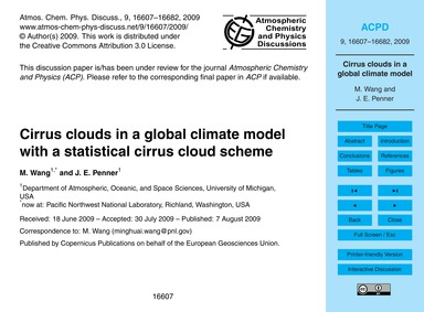 Cirrus Clouds in a Global Climate Model ... by Wang, M.