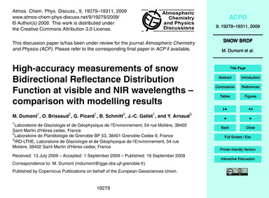 High-accuracy Measurements of Snow Bidir... by Dumont, M.