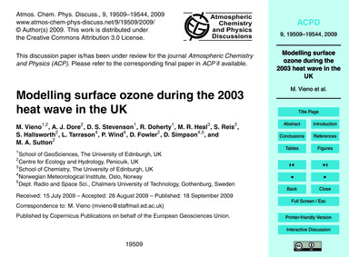 Modelling Surface Ozone During the 2003 ... by Vieno, M.
