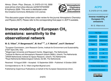 Inverse Modeling of European Ch4 Emissio... by Villani, M. G.