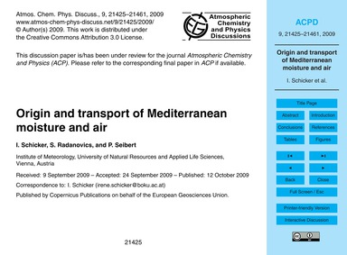Origin and Transport of Mediterranean Mo... by Schicker, I.