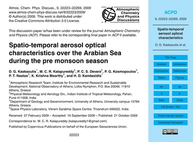 Spatio-temporal Aerosol Optical Characte... by Kaskaoutis, D. G.