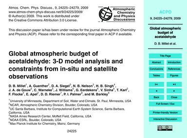 Global Atmospheric Budget of Acetaldehyd... by Millet, D. B.