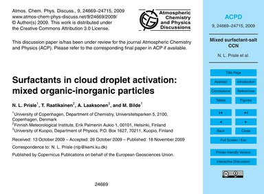 Surfactants in Cloud Droplet Activation:... by Prisle, N. L.
