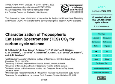 Characterization of Tropospheric Emissio... by Kulawik, S. S.