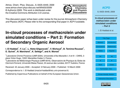 In-cloud Processes of Methacrolein~under... by El Haddad, I.