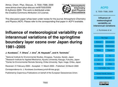 Influence of Meteorological Variability ... by Kurokawa, J.