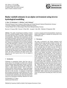 Radar Rainfall Estimates in an Alpine En... by Marx, A.