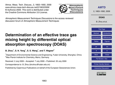 Determination of an Effective Trace Gas ... by Zhou, B.