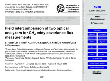 Field Intercomparison of Two Optical Ana... by Tuzson, B.