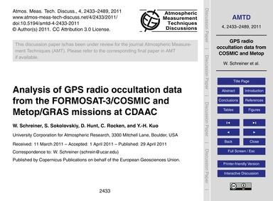Analysis of Gps Radio Occultation Data f... by Schreiner, W.