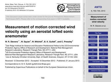 Measurement of Motion Corrected Wind Vel... by Stevens, W. R.