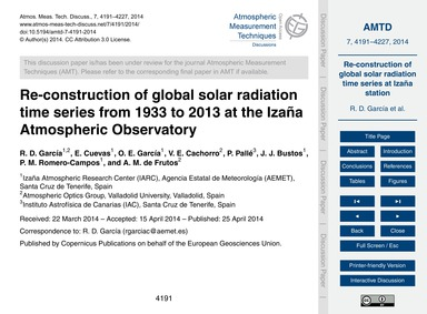 Re-construction of Global Solar Radiatio... by García, R. D.