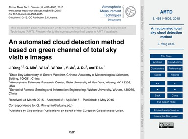 An Automated Cloud Detection Method Base... by Yang, J.