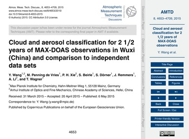 Cloud and Aerosol Classification for 2 1... by Wang, Y.