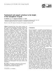 Semiannual and Annual Variations in the ... by Rishbeth, H.