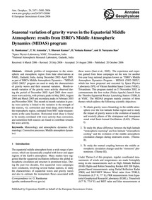 Seasonal Variation of Gravity Waves in t... by Ramkumar, G.