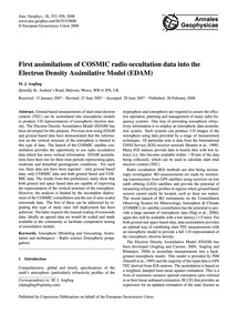 First Assimilations of Cosmic Radio Occu... by Angling, M. J.