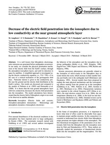 Decrease of the Electric Field Penetrati... by Ampferer, M.