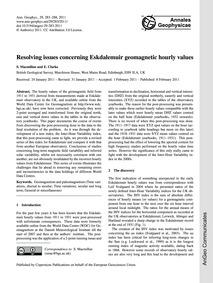 Resolving Issues Concerning Eskdalemuir ... by MacMillan, S.