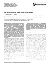 The Definition of Life in the Context of... by Zhuravlev, Y. N.
