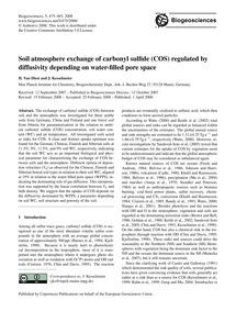 Soil Atmosphere Exchange of Carbonyl Sul... by Van Diest, H.