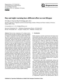 Day and Night Warming Have Different Eff... by Bai, W. M.