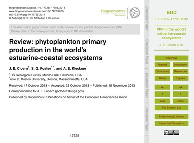 Review: Phytoplankton Primary Production... by Cloern, J. E.