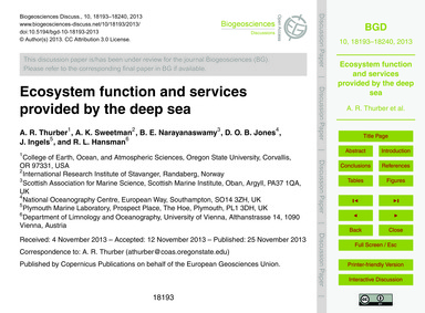 Ecosystem Function and Services Provided... by Thurber, A. R.