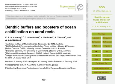 Benthic Buffers and Boosters of Ocean Ac... by Anthony, K. R. N.