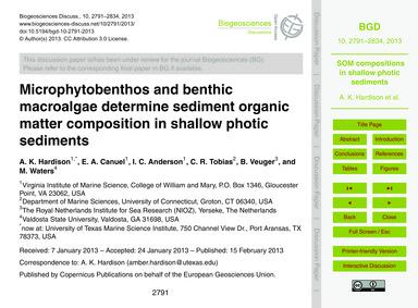 Microphytobenthos and Benthic MacRoalgae... by Hardison, A. K.