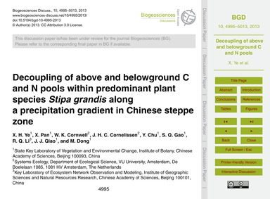 Decoupling of Above and Belowground C an... by Ye, X. H.