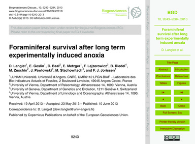 Foraminiferal Survival After Long Term E... by Langlet, D.