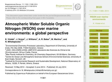 Atmospheric Water Soluble Organic Nitrog... by Violaki, K.