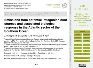 Emissions from Potential Patagonian Dust... by Castagna, A.