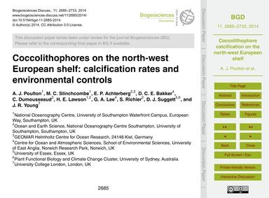 Coccolithophores on the North-west Europ... by Poulton, A. J.