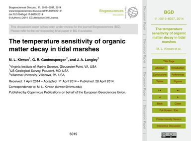 The Temperature Sensitivity of Organic M... by Kirwan, M. L.