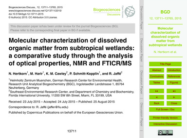 Molecular Characterization of Dissolved ... by Hertkorn, N.