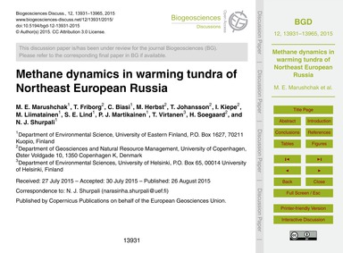 Methane Dynamics in Warming Tundra of No... by Marushchak, M. E.