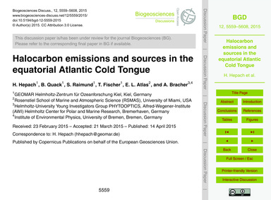 Halocarbon Emissions and Sources in the ... by Hepach, H.