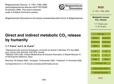 Direct and Indirect Metabolic Co2 Releas... by Prairie, Y. T.