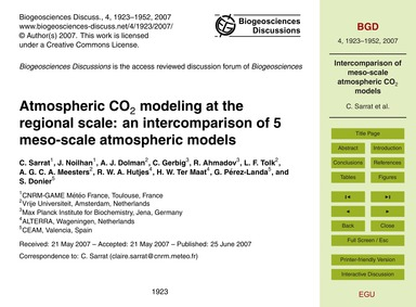 Atmospheric Co<Sub>2</Sub> Modeling at t... by Sarrat, C.