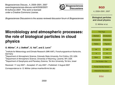 Microbiology and Atmospheric Processes: ... by Möhler, O.