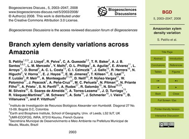 Branch Xylem Density Variations Across A... by Patiño, S.