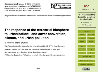 The Response of the Terrestrial Biospher... by Trusilova, K.